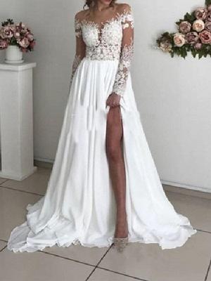 A-Line Wedding Dresses Off Shoulder Sweep \ Brush Train Chiffon Taffeta Stretch Satin Long Sleeve Country Sexy Plus Size_1