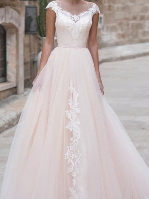 A-Line Wedding Dresses Jewel Neck Sweep \ Brush Train Lace Taffeta Chiffon Over Satin Short Sleeve Country Plus Size_3
