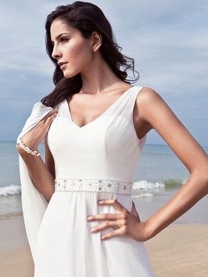 Sheath \ Column Wedding Dresses V Neck Floor Length Chiffon Regular Straps Simple Beach Plus Size_6