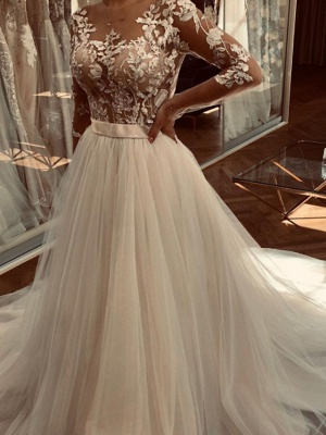 A-Line Wedding Dresses Jewel Neck Sweep \ Brush Train Lace Tulle Long Sleeve Sexy See-Through_2
