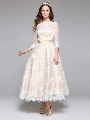 A-Line Wedding Dresses Bateau Neck Ankle Length Lace Over Satin 3\4 Length Sleeve Casual Boho See-Through Cute Illusion Sleeve_2