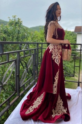 ZY099 Wine Red Evening Dresses Long Cheap | Velvet Evening Wear Online_1