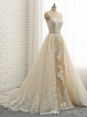 Mermaid \ Trumpet Jewel Neck Chapel Train Lace Tulle Lace Over Satin Regular Straps Formal See-Through Wedding Dresses_4