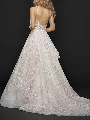 A-Line Wedding Dresses Jewel Neck Court Train Chiffon Tulle Spaghetti Strap_2
