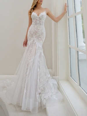 Mermaid \ Trumpet Wedding Dresses Spaghetti Strap Sweep \ Brush Train Lace Tulle Sleeveless Sexy See-Through Backless_1