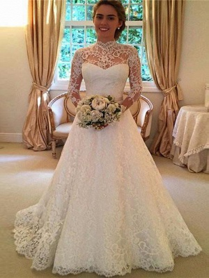 A-Line High Neck Sweep \ Brush Train Lace 3\4 Length Sleeve Lace Illusion Sleeve Wedding Dresses_1