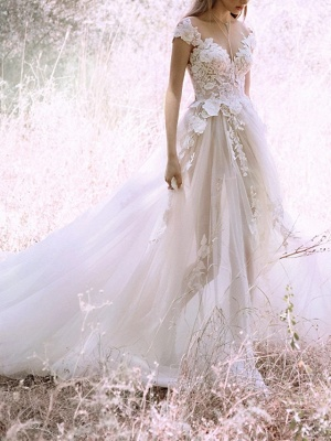 A-Line Wedding Dresses V Neck Court Train Lace Tulle Cap Sleeve_1