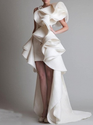 Sheath \ Column Wedding Dresses One Shoulder Asymmetrical Polyester Short Sleeve Vintage Plus Size_1