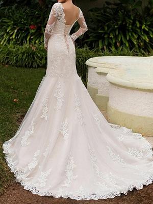 Mermaid \ Trumpet Wedding Dresses Bateau Neck Sweep \ Brush Train Lace Long Sleeve Boho Illusion Sleeve_3