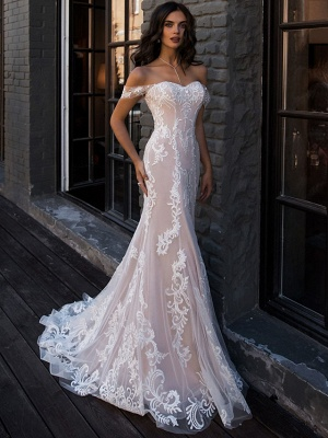 Mermaid \ Trumpet Wedding Dresses Sweetheart Neckline Court Train Lace Regular Straps Boho Illusion Detail_1
