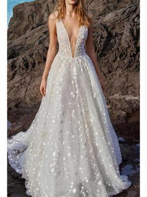 A-Line V Neck Floor Length Chiffon Tulle Regular Straps Boho Wedding Dresses_1