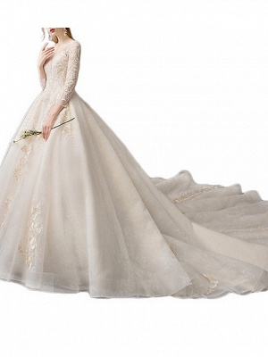 A-Line Wedding Dresses Jewel Neck Floor Length Lace Tulle 3\4 Length Sleeve Casual Plus Size Illusion Sleeve_2