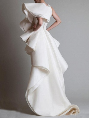 Sheath \ Column Wedding Dresses One Shoulder Asymmetrical Polyester Short Sleeve Vintage Plus Size_2