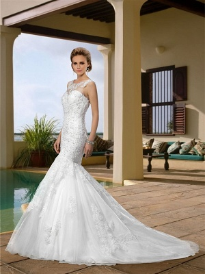 Mermaid \ Trumpet Wedding Dresses Scoop Neck Court Train Lace Regular Straps Country_2
