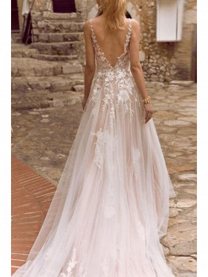 A-Line Wedding Dresses V Neck Court Train Chiffon Tulle Spaghetti Strap Illusion Detail_2