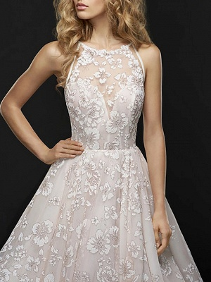 A-Line Wedding Dresses Jewel Neck Court Train Chiffon Tulle Spaghetti Strap_4