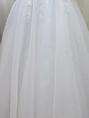 A-Line Wedding Dresses V Wire Sweep \ Brush Train Lace Tulle Short Sleeve Sexy See-Through_3
