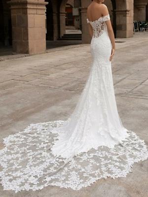 Mermaid \ Trumpet Wedding Dresses Off Shoulder Court Train Satin Short Sleeve Romantic Sexy Backless_2