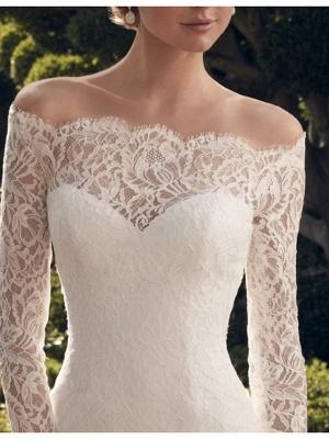 Sheath \ Column Wedding Dresses Off Shoulder Short \ Mini Lace Long Sleeve Vintage See-Through Illusion Sleeve_3