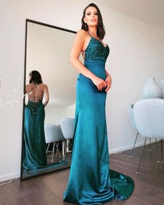ZY109 Simple Evening Dresses Long Green Evening Wear Online_2