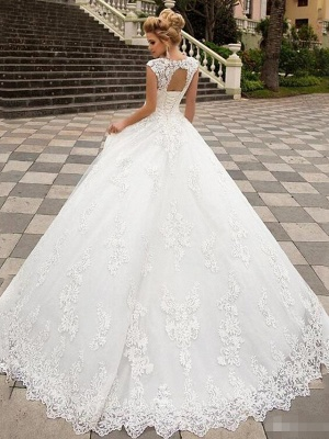 A-Line Wedding Dresses V Neck Sweep \ Brush Train Lace Tulle Strapless Country_2
