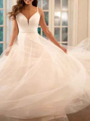 A-Line Wedding Dresses V Neck Sweep \ Brush Train Tulle Charmeuse Spaghetti Strap_2