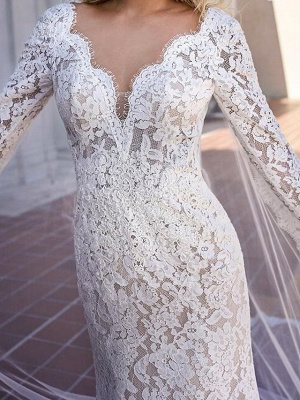Mermaid \ Trumpet V Neck Sweep \ Brush Train Lace Long Sleeve Country Plus Size Wedding Dresses_2