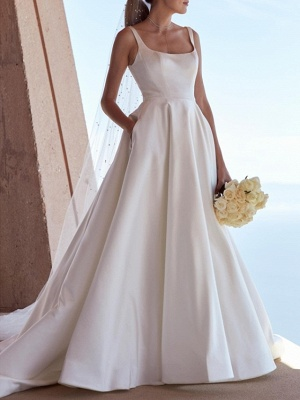 A-Line Wedding Dresses Square Neck Sweep \ Brush Train Satin Spaghetti Strap Plus Size Elegant_1