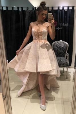 ZY136 Lace Prom Dresses Cocktail Dresses Short Front Long Back_1