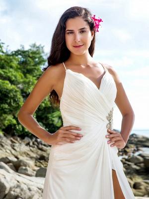 Sheath \ Column Wedding Dresses V Neck Sweep \ Brush Train Chiffon Spaghetti Strap Beach Sparkle & Shine Backless_4