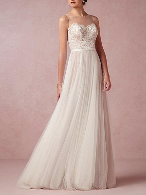 A-Line Wedding Dresses Jewel Neck Sweep \ Brush Train Lace Tulle Sleeveless Beach Sexy See-Through Backless_1