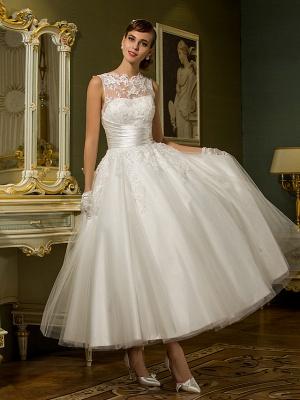 A-Line Wedding Dresses High Neck Ankle Length Lace Over Tulle Regular Straps Vintage Little White Dress Illusion Detail_1