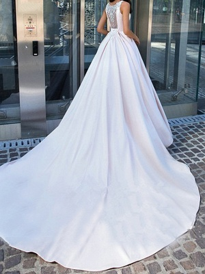 Ball Gown Wedding Dresses Bateau Neck Cathedral Train Polyester Regular Straps Plus Size_3
