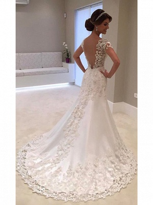 Mermaid \ Trumpet Wedding Dresses V Neck Court Train Lace Tulle Lace Over Satin Cap Sleeve Glamorous Backless_1