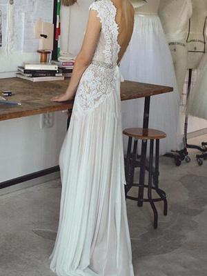 Sheath \ Column Wedding Dresses V Neck Sweep \ Brush Train Chiffon Lace Sleeveless Beach_2