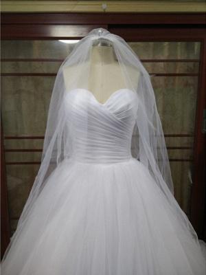 Ball Gown Wedding Dresses Strapless Court Train Tulle Strapless Formal Little White Dress_3