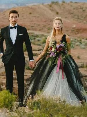 Ball Gown Wedding Dresses V Neck Court Train Tulle Regular Straps Sexy Plus Size Black_1
