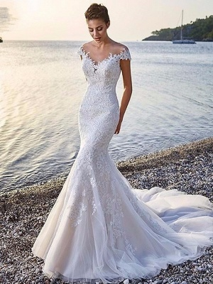 Mermaid \ Trumpet Wedding Dresses Scoop Neck Court Train Organza Sleeveless Sexy Wedding Dress in Color_1