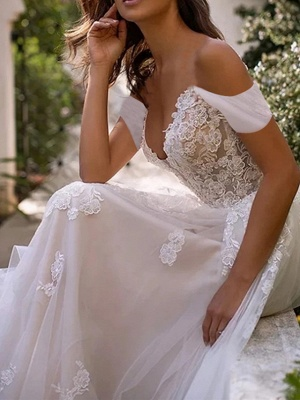 A-Line Wedding Dresses Off Shoulder Sweep \ Brush Train Lace Tulle Sleeveless Country Plus Size_3