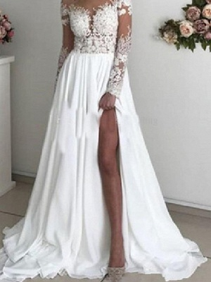 A-Line Wedding Dresses Off Shoulder Sweep \ Brush Train Chiffon Taffeta Stretch Satin Long Sleeve Country Sexy Plus Size_4