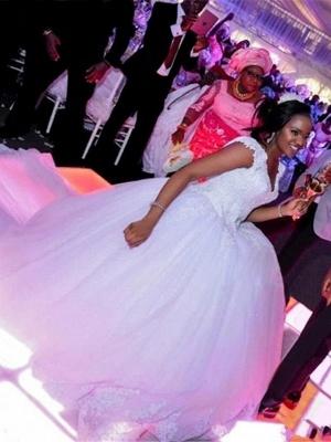 A-Line Wedding Dresses V Neck Watteau Train Organza Sleeveless Sexy Wedding Dress in Color_4