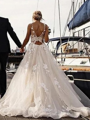 A-Line Wedding Dresses V Neck Court Train Tulle Spaghetti Strap Backless_3