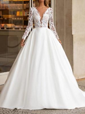 A-Line Wedding Dresses V Neck Floor Length Polyester Long Sleeve Formal Plus Size Illusion Sleeve_1