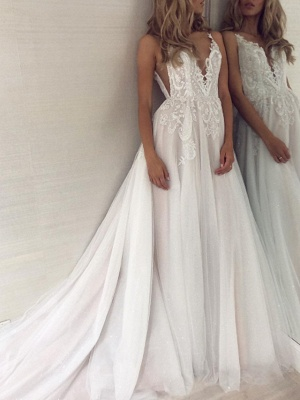 A-Line Wedding Dresses V Neck Sweep \ Brush Train Lace Tulle Sleeveless Sexy Backless_2