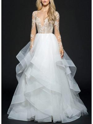 Ball Gown Wedding Dresses V Neck Floor Length Organza Long Sleeve Illusion Sleeve_1