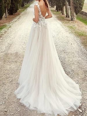 A-Line Wedding Dresses V Neck Court Train Organza Stretch Satin Regular Straps_2