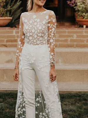 Jumpsuits A-Line Wedding Dresses Jewel Neck Sweep \ Brush Train Lace Satin Long Sleeve Sexy See-Through Modern_3