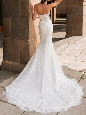 Mermaid \ Trumpet Wedding Dresses Sweetheart Neckline Court Train Lace Strapless Mordern Sparkle & Shine_2