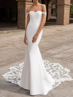 Mermaid \ Trumpet Wedding Dresses Off Shoulder Court Train Satin Short Sleeve Romantic Sexy Backless_1
