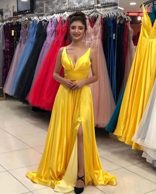 ZY139 Evening Dresses Plain Yellow Long Evening Dress With V Neckline_2